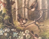 Reserved for Paula Victorian oil painting birds