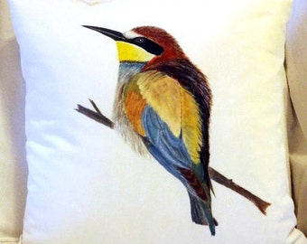 Hand painted Pillow - Bird on a Pillow