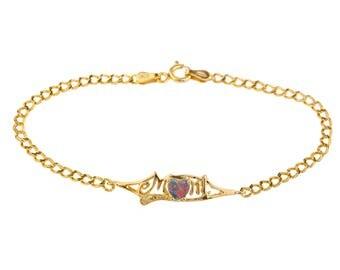 14Kt Yellow Gold Plated Black Opal & Diamond Heart Mom Bracelet