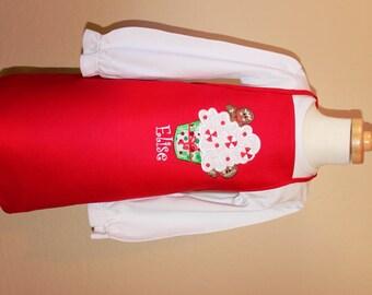 Christmas apron, personalized holiday apron, kid's apron, girl's apron