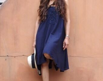 Vacation Time Dress...Sundress....Slip Dress..Color Navy Blue