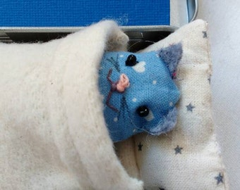 Blue Lovecat. Tinny Tinies with bed and adoption certificate and/or personalised message