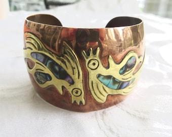 Vintage Copper Cuff Bracelet, Brass and Abalone Inlay, Boho Bracelet