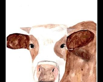 Cow watercolor painting Original artwork Cow art Farm animal painting Cow artwork Cow illustration Animal art 9 x 12 inch UK  shop