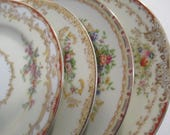 Vintage Mismatched China Dessert / Bread Plates W/ Imperfections - Set of 4
