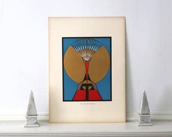 Large 1950 Art Deco Serigraph Torino, Italy Vintage Art Deco Print 14 x 19 1/2 inches
