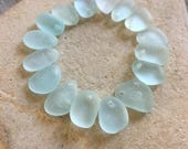 Top Drilled, Genuine, Beach Sea Glass Charms, Jewelry Quality A, Pale Seafoam, SMALLS, 10mm 12mm
