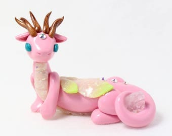 Rose Quartz Fairy Dragon - Polymer Clay Dragon Sculpture - Gem Dragon - Rose Quartz Crystal Dragon - Pink Dragon - Dragon Figurine