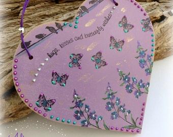 Purple Butterfly Kisses Heart Decoration, Gift Idea