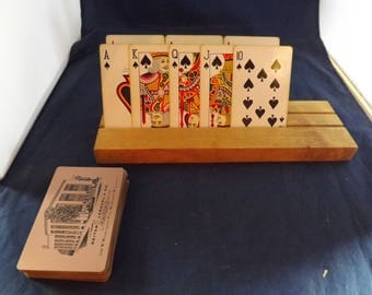 Wooden Card Holder and Deck of Cards
