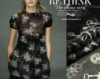 "ON SALE-Black Silk Chiffon Fabric with Key style -JFZ01 -1.35m wide/53"""
