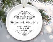 Adoption Gift, Vintage style Adoption Ornament, Personalized Christmas Ornament, Baby Girl or Baby Boy, For this child we have prayed OR824