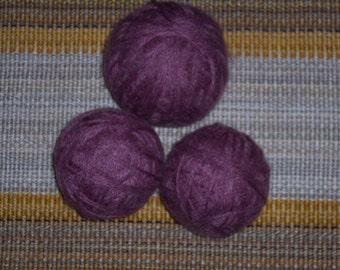 Purple yarn,possible wool or wool blend, lot of 3 balls, 7.2 oz total weight, soft fuzzy yarn