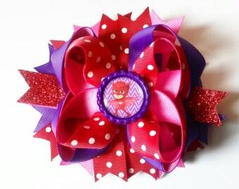 Pj mask inspired hair bow, owlette hair bow