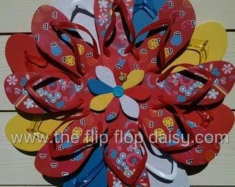 CUTE Flip Flop Wreath Red Flowers & Lady Bugs Summer Fun Beachy Door Decor Ocean Styles Unique