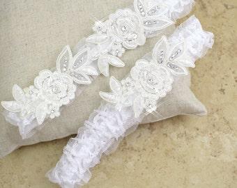 Wedding Garter Set, Rhinestone Ivory Lace Wedding Garter Set, Ivory Flower Lace Garter Set, Bridal Garter Belt