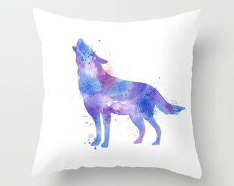 Wolf Pillow, Wolf Pillow Cover, Watercolor Wolf, Purple Wolf, Wilderness Pillow, Wildlife Pillow, Animal Life, Blue Wolf, Dog, Wolves, Sham