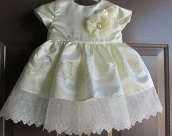 Off white Christening/baptism/blessing dress and matching slip