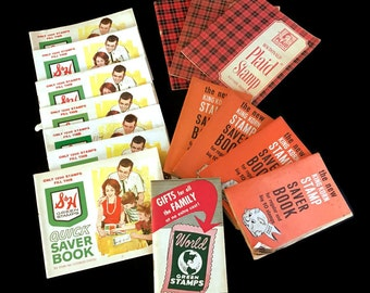 Vintage 1950's Trading Stamp Books S & H Green Stamps King Korn Plaid Stamps World Green Stamps Lot of 15 Paper Ephemera Scrapbooking