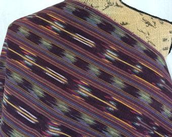 Guatemalan Fabric--Ethnic Woven Fabric--Ethnic Style Fabric--Handwoven Fabric--Ikat Fabric--Maroon Striped Fabric--Fabric by the HALF YARD