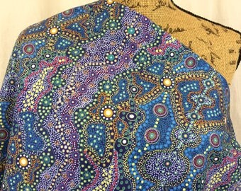 Australian Fabric--Aboriginal Fabric--Aboriginal Art--Ethnic Fabric--Cotton Quilt Fabric--Yalke Blue--Australian Fabric by the HALF YARD