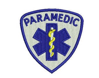 paramedic badge embroidery design