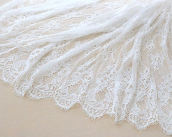off white Chantilly lace fabric, bridal chantilly lace, retro bridal lace fabric with scalloped borders