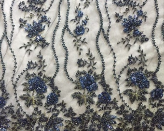 heavy beaded lace fabric, super delicate lace, navy blue beaded lace fabric, vintage style bridal lace fabric, beading cord lace fabric