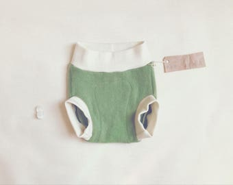 Medium 'Grass' Wool Soaker Diaper Cover // Cashmere Wool Diaper Cover // 9-24 Months