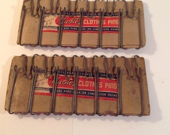 12 Unused Steel Galvanized Wire Master Brand Clothes Pins Laundry Hangers on Original Packaging