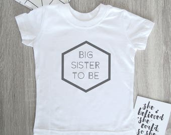 Big Sister To Be T-Shirt - Sibling Gift / Floral Print / New Baby / Toddler / Pregnancy Announcement /Birth Announcement.