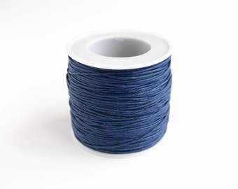 Navy Blue Waxed Cotton Cord, Sapphire Braided Cord, 1 mm, 10 yards, 30 feet - (3298-1003)