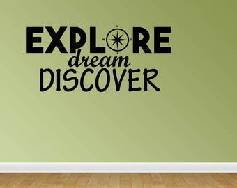 Wall Decal Explore Dream Discover Travel Vacation Decor For The Traveler Vinyl Word Art Decals Stickers Lettering (PC306)