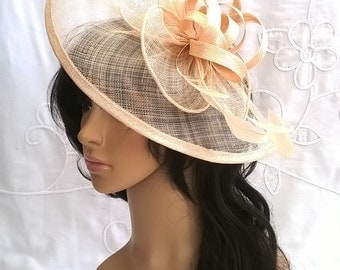 Nude Fascinator..Stunning  Fascinator ..Sinamay and  Feather Teardrop style  with  swirls ,coque Feathers