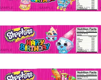 INSTANT Download!!! Shopkins Water Bottle Labels- Digital File.