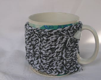Thick Crocheted Mug Cozy Black & White Button Loop Coffee Cup Cozy Gift Idea