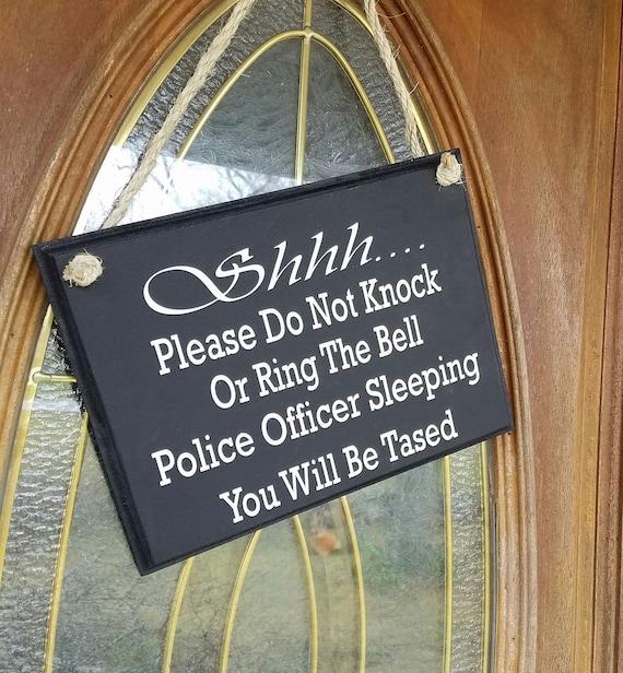 Police Officer Sleeping / Night shift / Door Decor / Wood Door