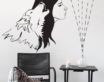 Vinyl Wall Sticker Wolf and Women / Howling Animal & Womans Silhouette Art Home Decal / Living Room Perfect Couple Mural + Free Decal Gift!