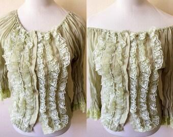 laurel green sheer blouse (small to medium), greenish gray crumpled chiffon top