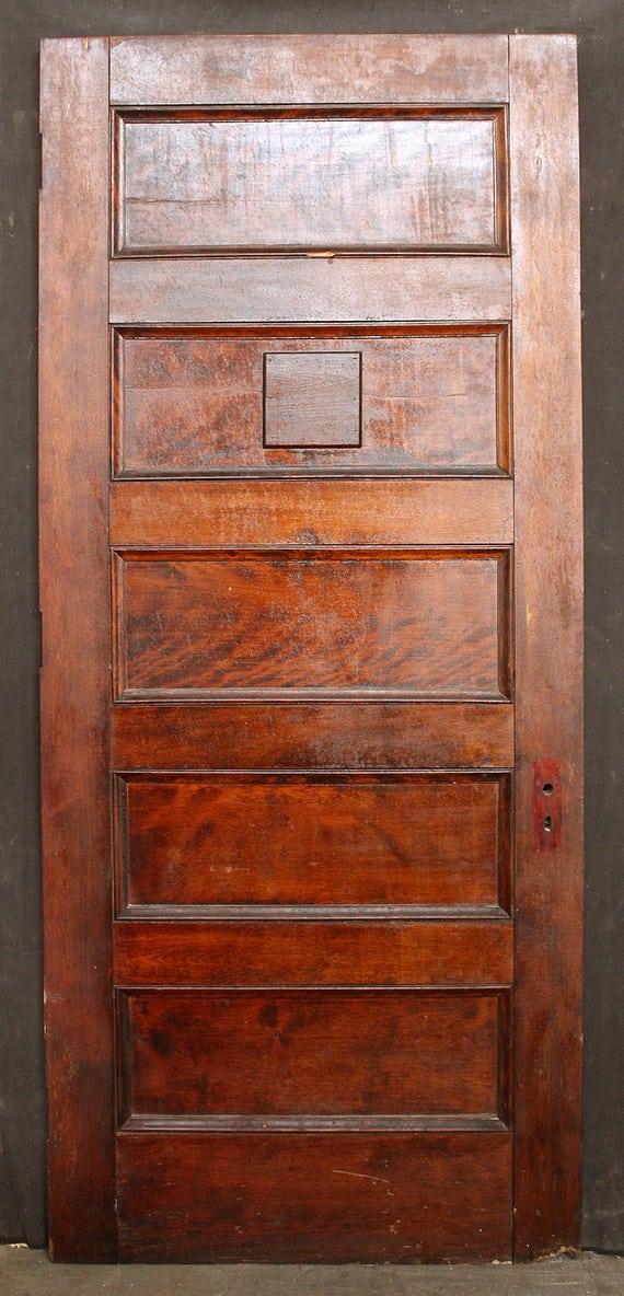38 x88 antique vintage solid wood wooden door stacked for 6 horizontal panel wood doors