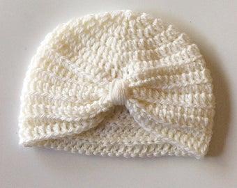 Crochet Baby Turban, Crochet Baby Hat, Photo Prop, Baby Beanie, Baby Accessory