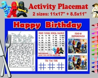 Instand DL -Ninjago  activity Placemat Party game  printable -  two sizes!  -  Digital File (NOT editable)