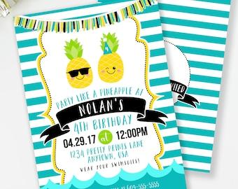 Pineapple Invitation, Luau Birthday Invitation, Boys Birthday Party, Pool Party Invite, Pineapple Birthday, Pineapple Party Invite, #75