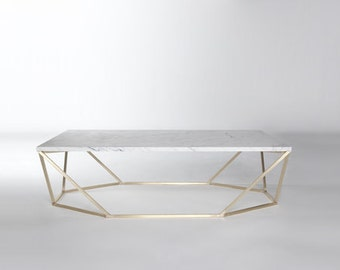 Modern Small Coffee Table in White Marble and Brushed Brass
