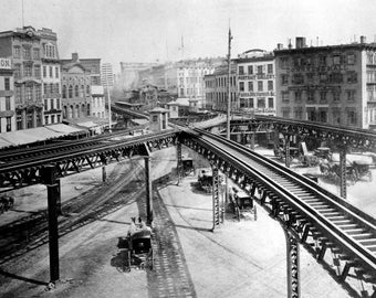 New York City, 1800s rail line, elevated railroad tracks, Black & white, old, vintage antique, photo, photography, picture, print, fine art