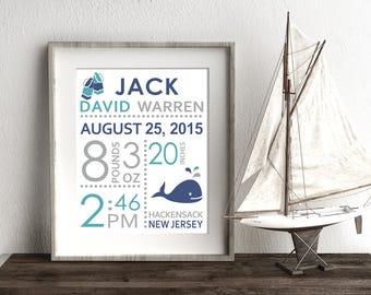 Nautical Birth Announcement - CHOOSE COLORS - Ocean Nursery, Custom Birth Stats, Personalized New Baby Gift, Nursery Wall Art, Baby Keepsake