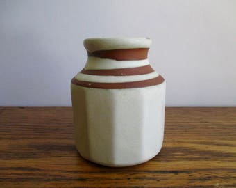 Vintage Tiny White and Brown Vase