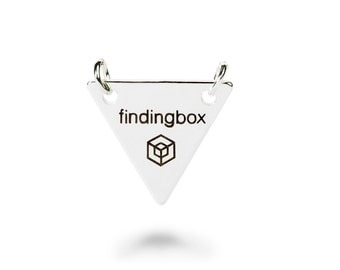 Sterling Silver Triangle Jewelry Tag with Double Holes, Laser Engraved Logo on Sequins, 15x15mm, 19 Gauge, Pkg of 100 PCS, F14O.SI06.P100.C