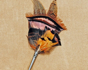 F012 Feather pin, hat pin, FREE US SHIPPING