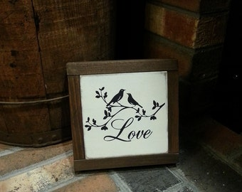 READY TO SHIP Wood Love Sign  - Love Sign - Wedding Sign - Valentines Day Sign - Farmhouse Decor - Mini Framed Sign - Rustic Decor